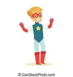 bleu, garçon, superhero, avoir, habillé, masque, déguisement, feindre, étoile, sourire, super, pouvoirs, caractère
