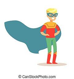bleu, garçon, superhero, blonds, super, habillé, masque, avoir, déguisement, feindre, cap, sourire, pouvoirs, caractère