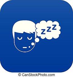 bleu, garçon, tête, parole, numérique, bulle, icône