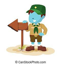 bleu, garçon, tenue, signe, scout, flèche