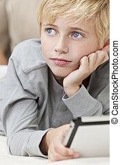 bleu, garçon, yeux, tablette, cheveux, informatique, blonds...