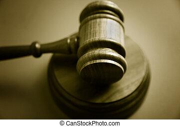 bleu, gavel bois, fond, judge\'s