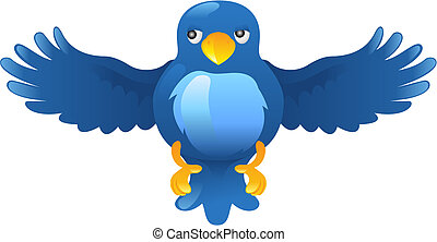 bleu, gazouillement, ing, oiseau, icône
