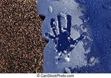 bleu, gelée, main, fond, impression, pastic