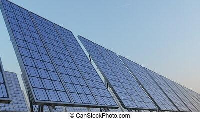 bleu, generation., sky., énergie, moderne, seamless, contre, clip., 4k, panneaux solaires, prores, loopable, renouvelable, rang