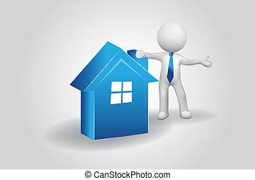 bleu, gens, maison, petit, logo, homme, 3d