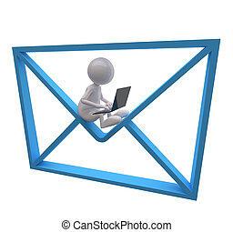 bleu, gens, ordinateur portable, courrier, icône, 3d