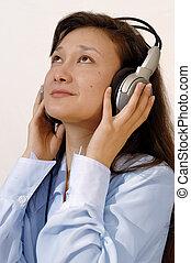 bleu, girl, écouteurs, chemise