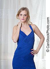 bleu, girl, blonds, robe