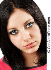 bleu, girl, brunette, yeux