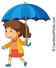 bleu, girl, parapluie, tenue