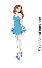 bleu, girl, robe