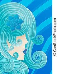 bleu, girl, s, cheveux, bouclé