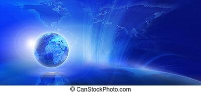 bleu, (global, communication, concept), fond, internet