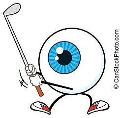 bleu, globe oculaire, caractère, golfeur
