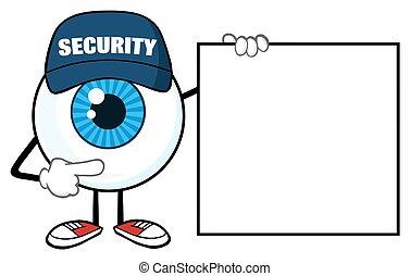bleu, globe oculaire, vide, pointage, signe