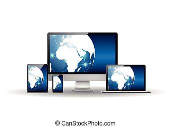bleu, globe terre, appareils