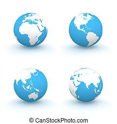 bleu, globes, blanc, 3d