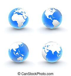 bleu, globes, blanc, brillant, transparent, 3d