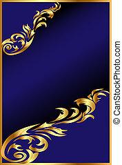 bleu, gold(en), ornement, fond