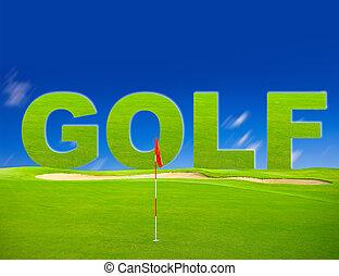 bleu, golf, champ ciel, arrière-plan vert