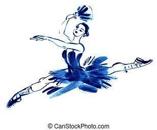 bleu, gouache, dessin, ballerine