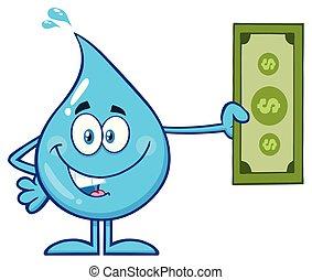 bleu, goutte, caractère, eau, tenue, dessin animé, mascotte
