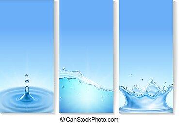 bleu, gouttes, lumière, clair, fluxs, color., eau, cristal, vetical, bulles, vague, bannières, transparent