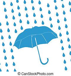 bleu, gouttes, parapluie, pluie