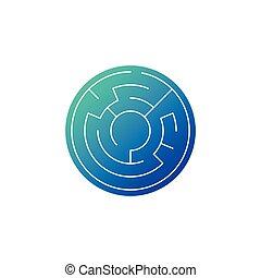 bleu, gradient, isolé, illustration, vecteur, fond, icône, labyrinthe, cercle, blanc