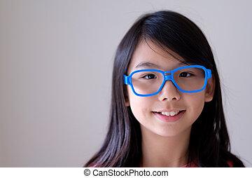 bleu, grand, adolescent, asiatique, portrait, lunettes