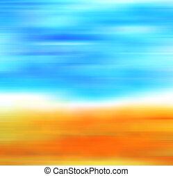 bleu, grand, art, background:, sky., vendange, résumé, jaune, main, peinture, papier, feuilles, automne, grunge, dessiné, conception, paysage, texture