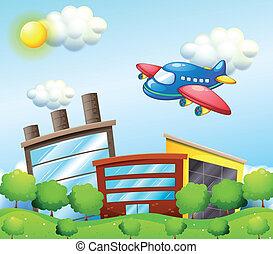 bleu, grand, bâtiments, avion, au-dessus