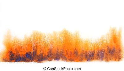bleu, grand, background:, vendange, résumé, papier peint, main, aquarelle, textures, blurs., orange, dessiné, luxueux, conception