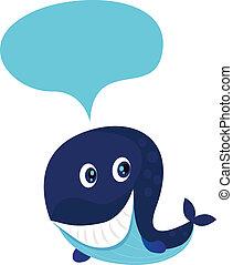 bleu, grand, baleine, dessin animé