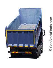 bleu, grand camion, isolé, décharge