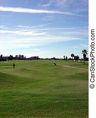 bleu, grand ciel, golf