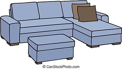 bleu, grand, divan