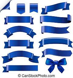 bleu, grand, ensemble, rubans