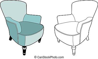 bleu, grand, fauteuil