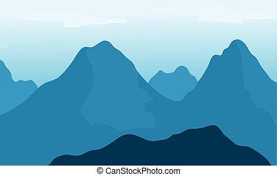 bleu, grand, fond, montagne