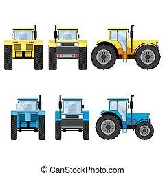 bleu, grand, tracteurs, wheels., jaune
