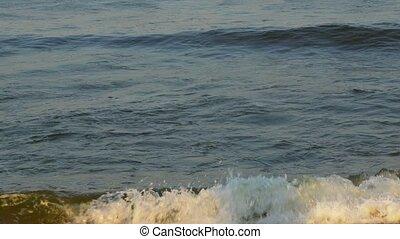 bleu, grand, vagues océan