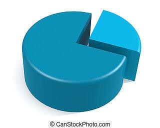 bleu, graphique circulaire, à, 25, cent