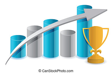 bleu, graphique, et, trophée, illustration