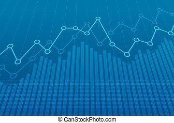 bleu, graphique financier, résumé, diagramme, uptrend, arrière-plan., ligne