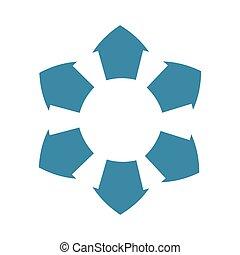bleu, graphique, infographic, vecteur, flèche, icon., données