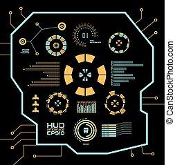 bleu, graphique, résumé, virtuel, toucher, hud., vecteur, interface utilisateur