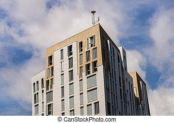 bleu, gratte-ciel, moderne, sky., architecture, contre