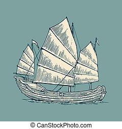 bleu, gravure, jonque, fond, affiche, conception, vendange, isolé, illustration, main, étiquette, ship., vecteur, postmark., voile, mer, dessiné, flotter, élément, waves.